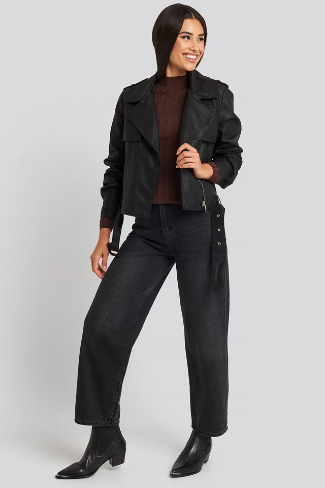 Belted PU Jacket Black Outfit