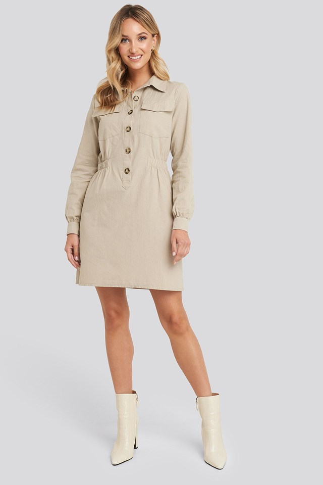 Mini Buttoned Shirt Dress Beige Outfit