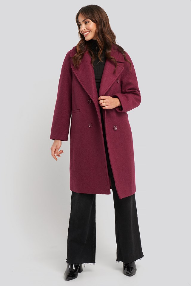 Oversized Double Breasted Coat Raspberry