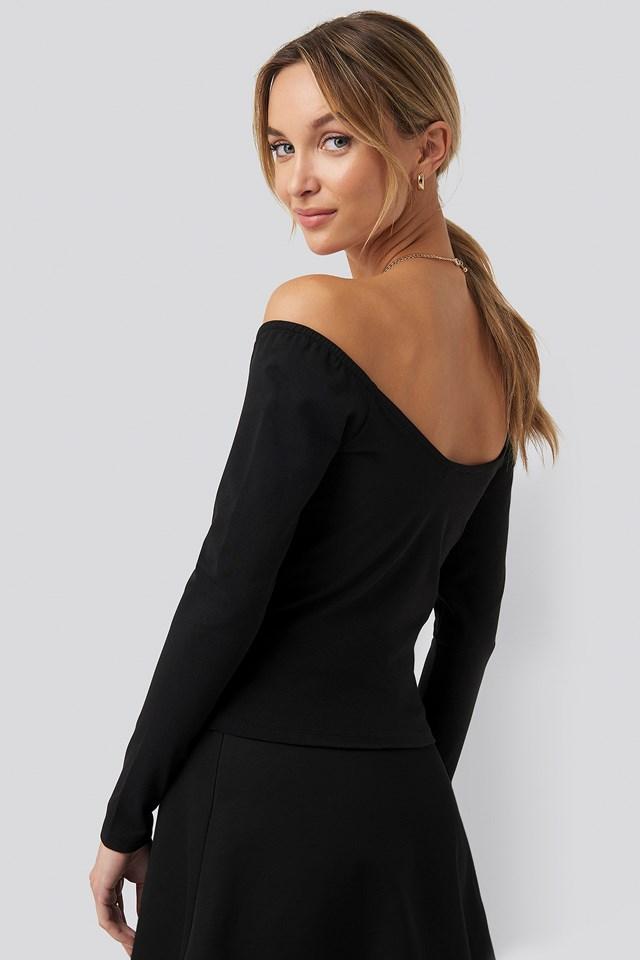 Bardot Wrap Front Crop Top Black