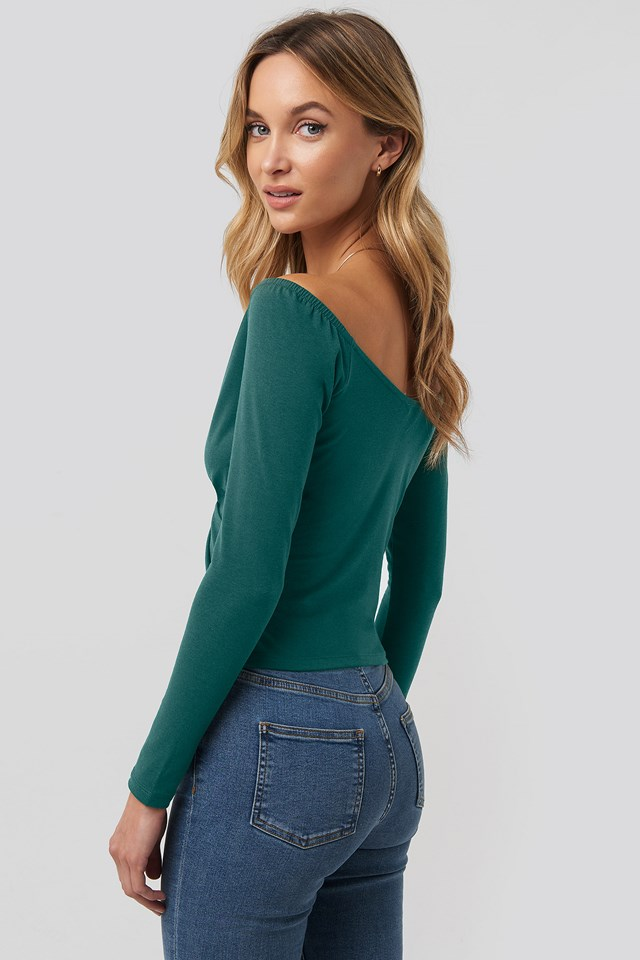 Bardot Wrap Front Crop Top Green