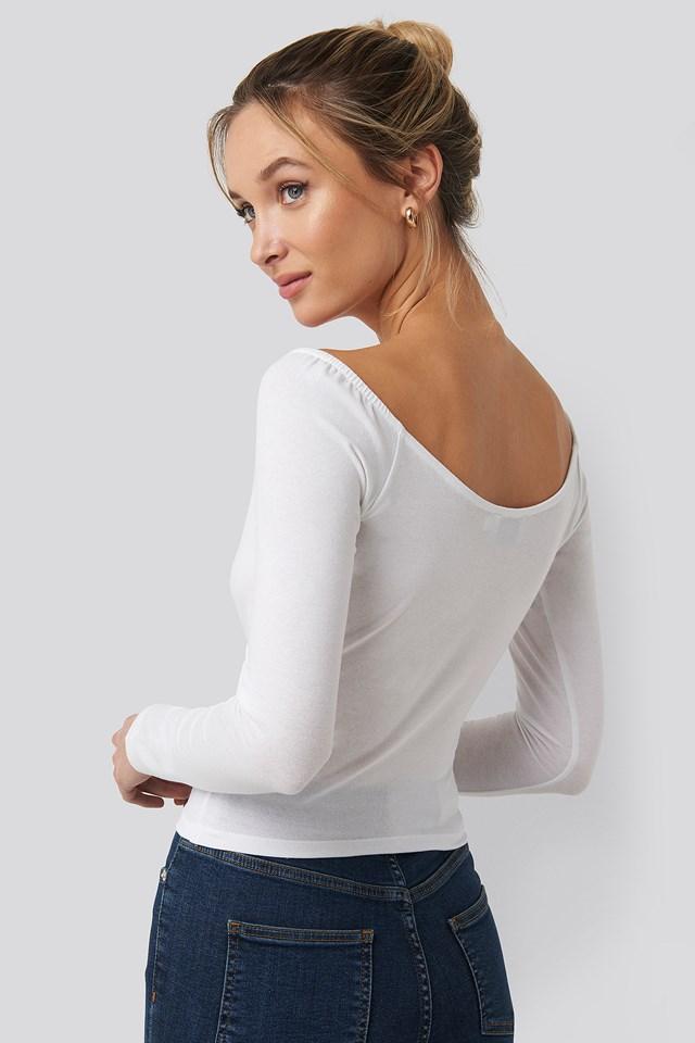 Bardot Wrap Front Crop Top Off White