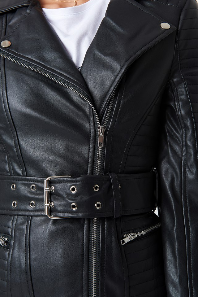 Belted Faux Leather Jacket Black