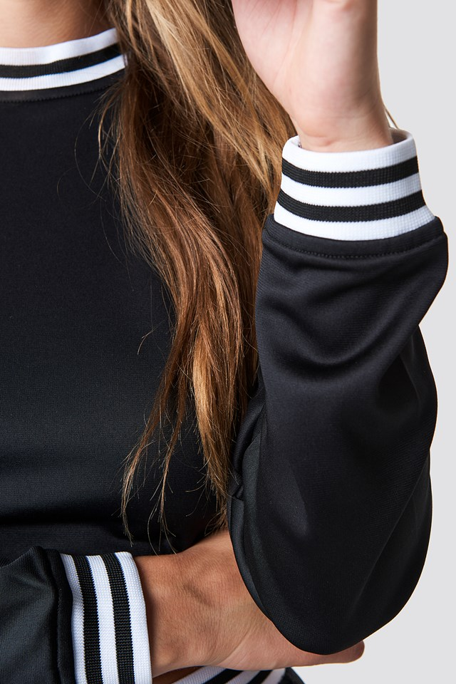 Cropped Track Sweater Black