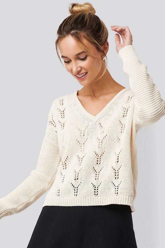 Deep V-Neck Lace Stitch Sweater Pamela x NA-KD