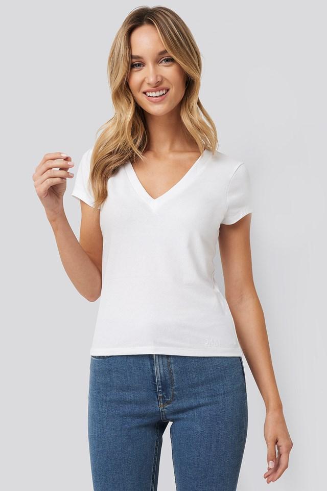 Deep V-Neck T-shirt Off White