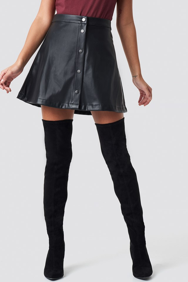 Front Button Faux Leather Skirt Black