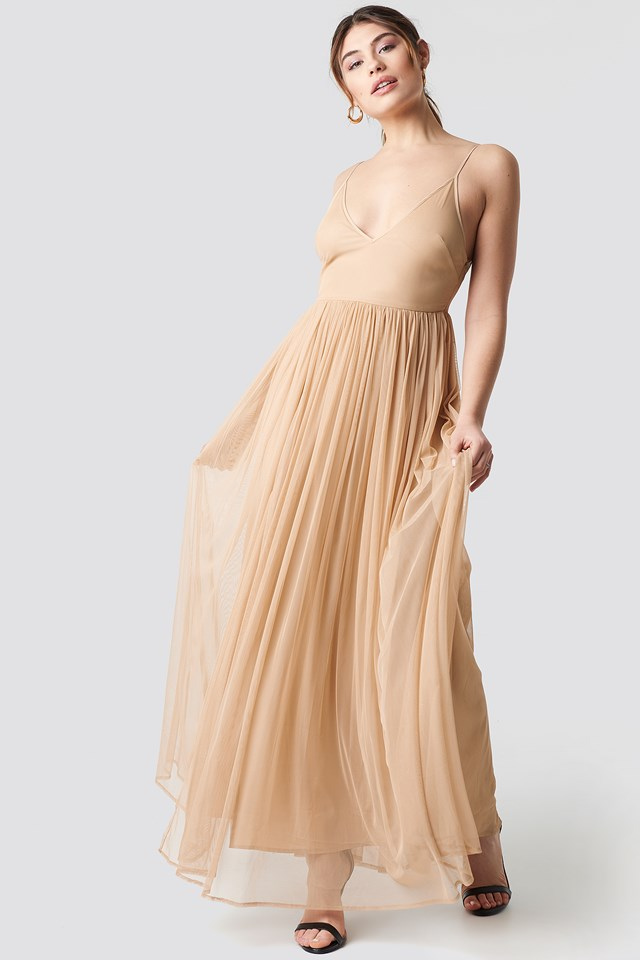 Front Slit Flowy Dress Nude