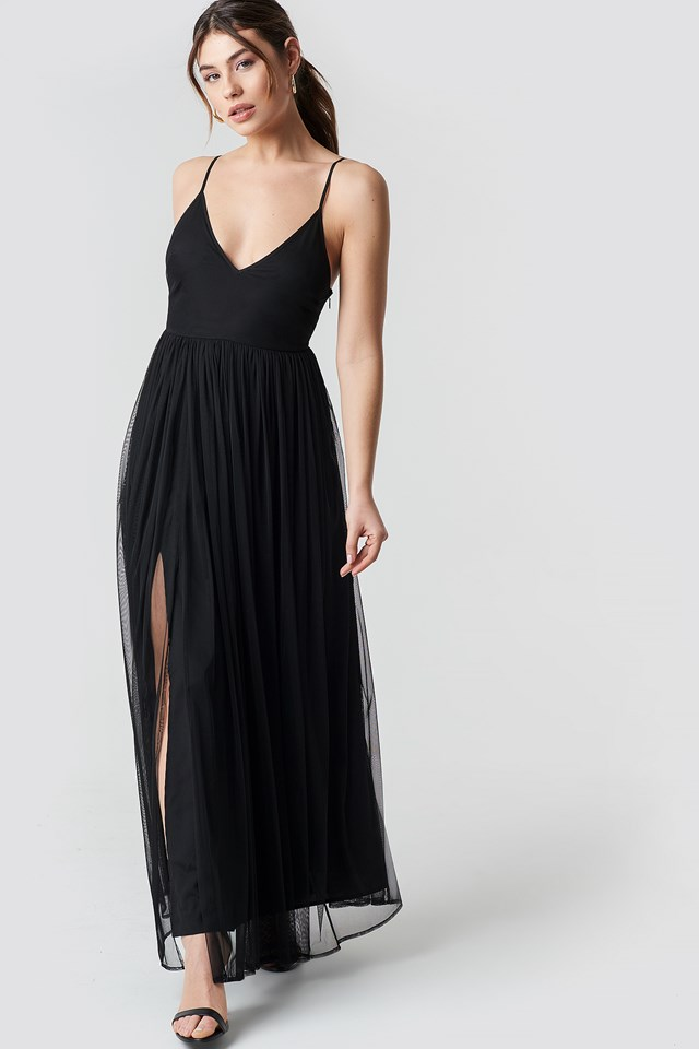 Front Slit Flowy Dress Black