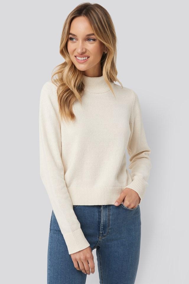 High Neck Sweater White