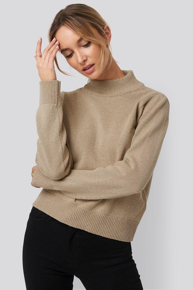 High Neck Sweater Beige