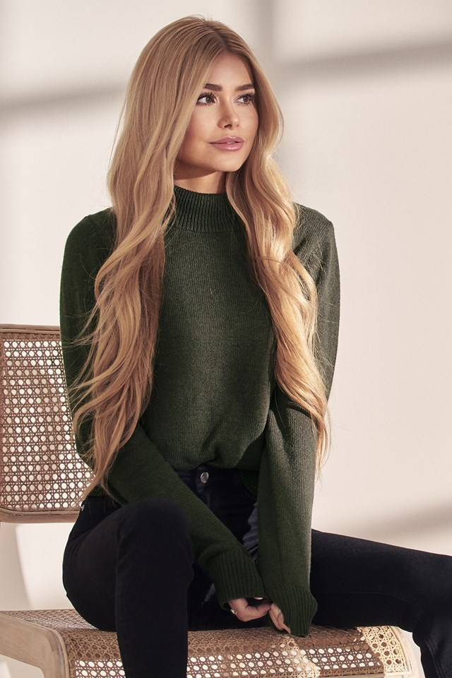 High Neck Sweater Army Green