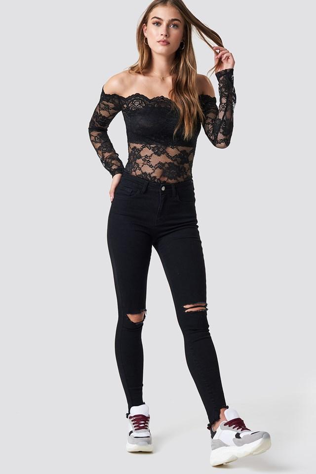 High Waist Ripped Jeans Black
