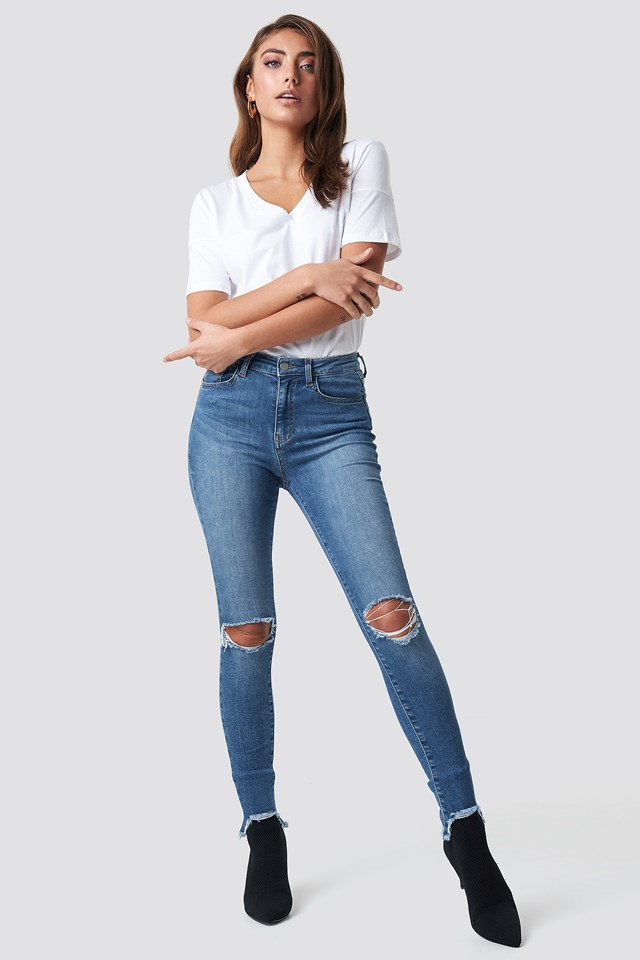 High Waist Ripped Jeans Mid Blue