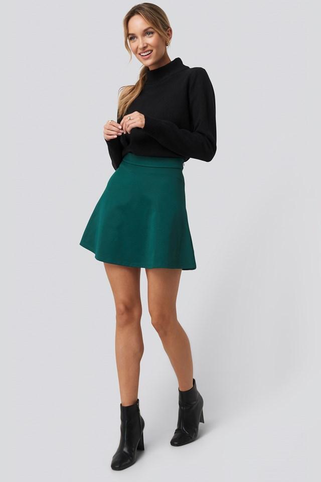 High Waist Skater Mini Skirt Green