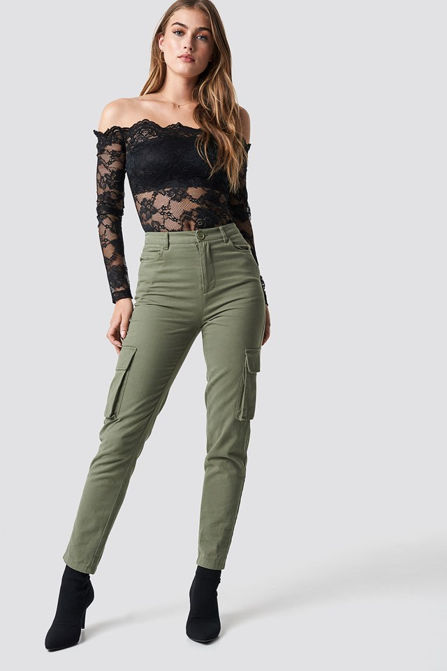 High Waist Slim Army Pants Pamela x NA-KD