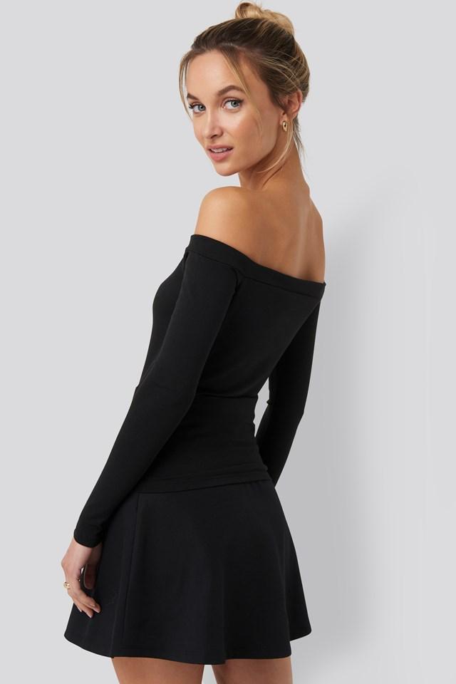 Long Sleeve Bardot Top Black