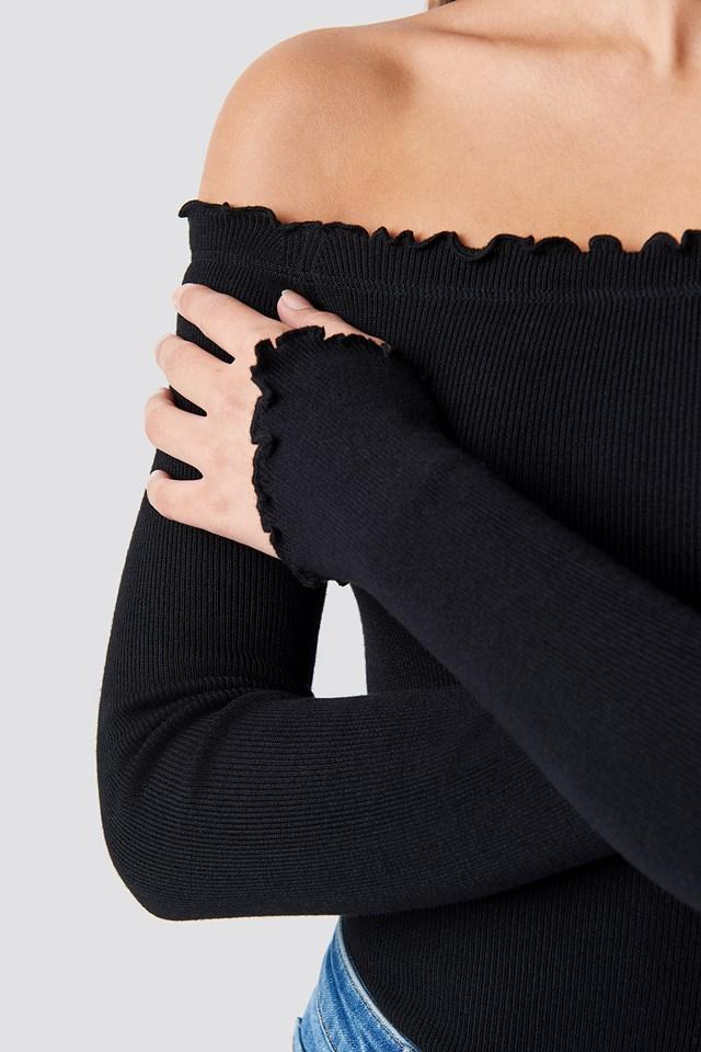 Off Shoulder Light Knit Top Black