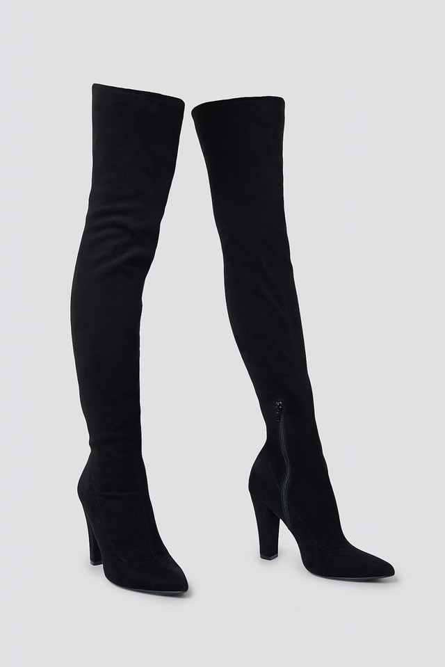 Overknee Faux Suede Boots Black