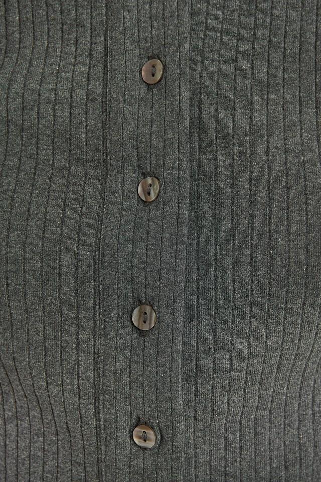 Puff Sleeve Button Up Crop Top Dark Grey