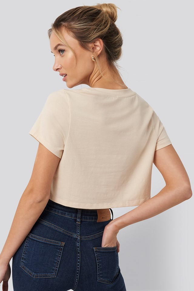 Raw Hem Cropped T-shirt Beige