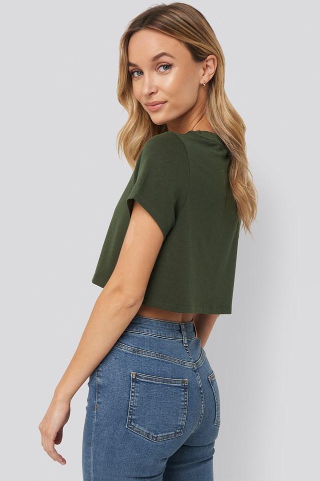 Raw Hem Cropped T-shirt Khaki