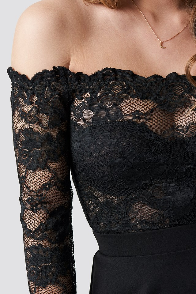 Off Shoulder Lace Top Black