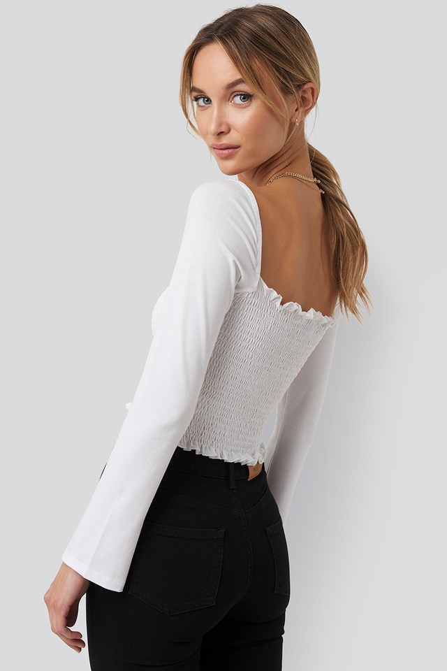 Square Neck Smocked Crop Top White