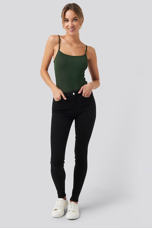 Thin Strap Bodysuit Khaki