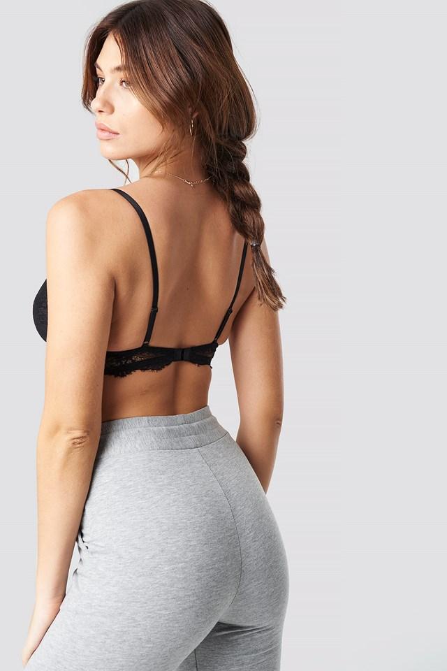Triangle Lace Strap Bra Black