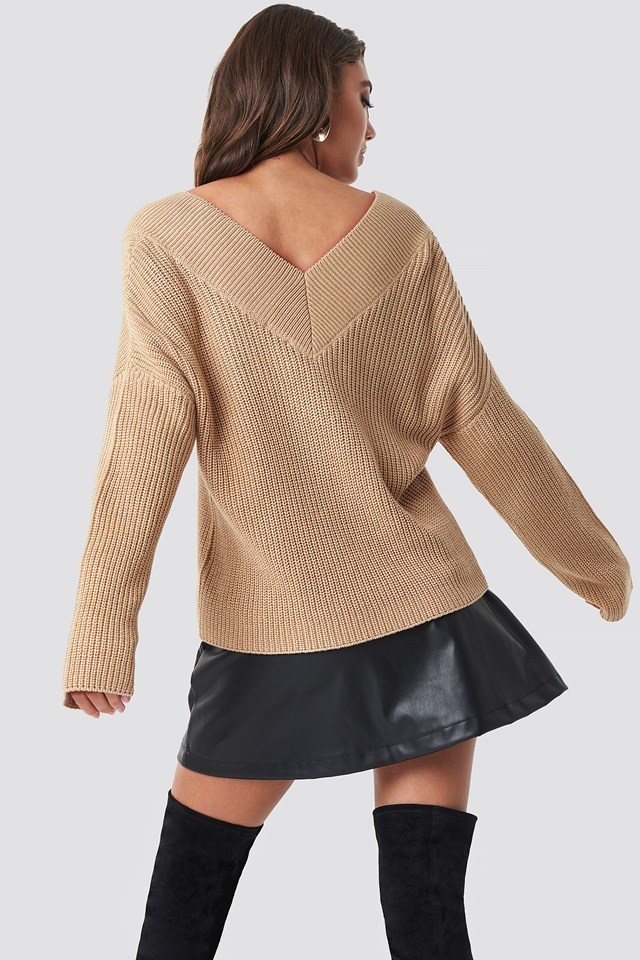 V-Neck Knitted Sweater Beige