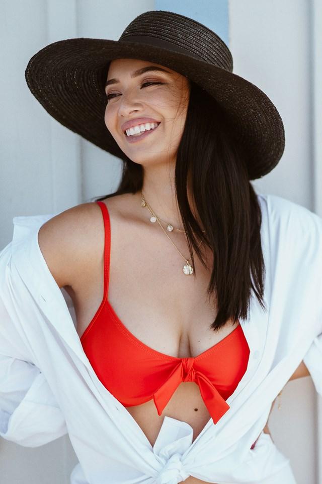 Knot Bikini Top Red