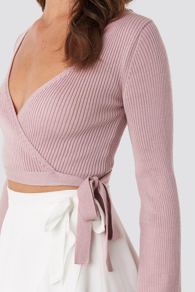 Ribbed Wrap Top Pink