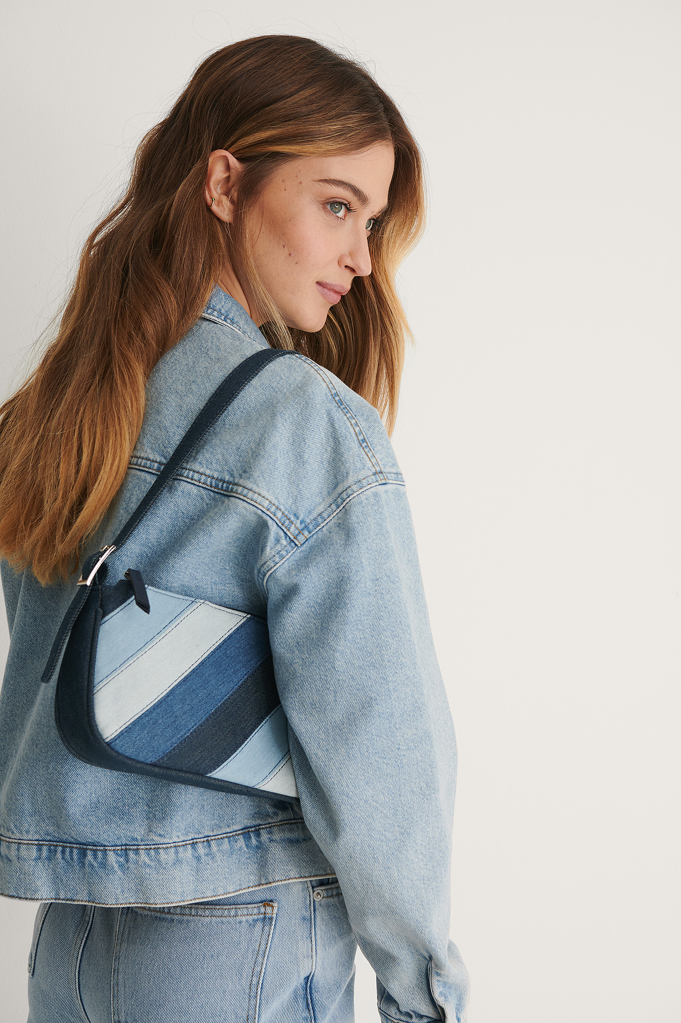 Blue Patchwork Denim Baguette Bag