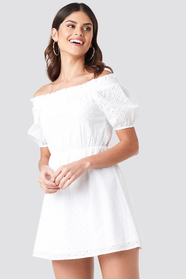 Off Shoulder Puffy Sleeve Dress White