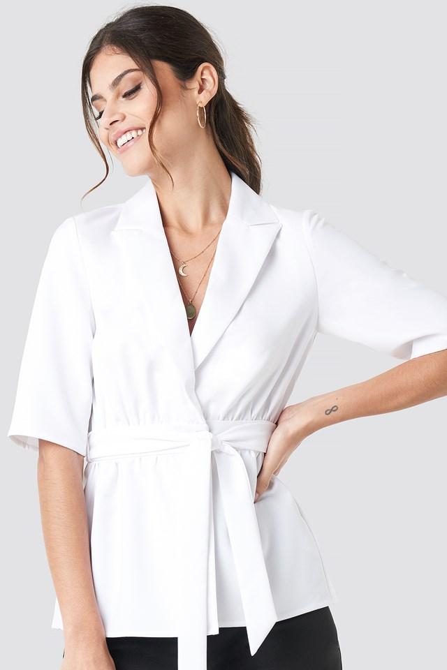 Short Sleeve Tied Blazer White