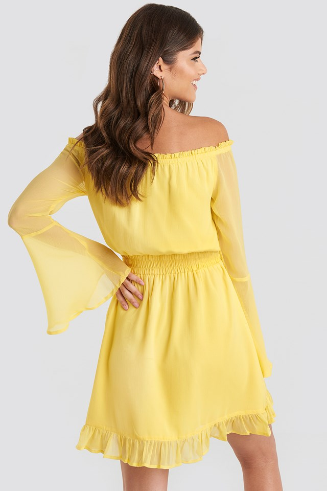 Off Shoulder Mini Dress Yellow