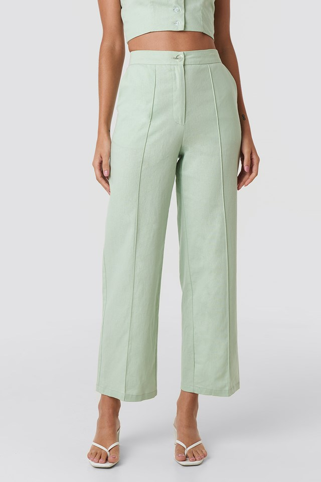 Linen Mix Regular Suit Pants Dusty Light Green