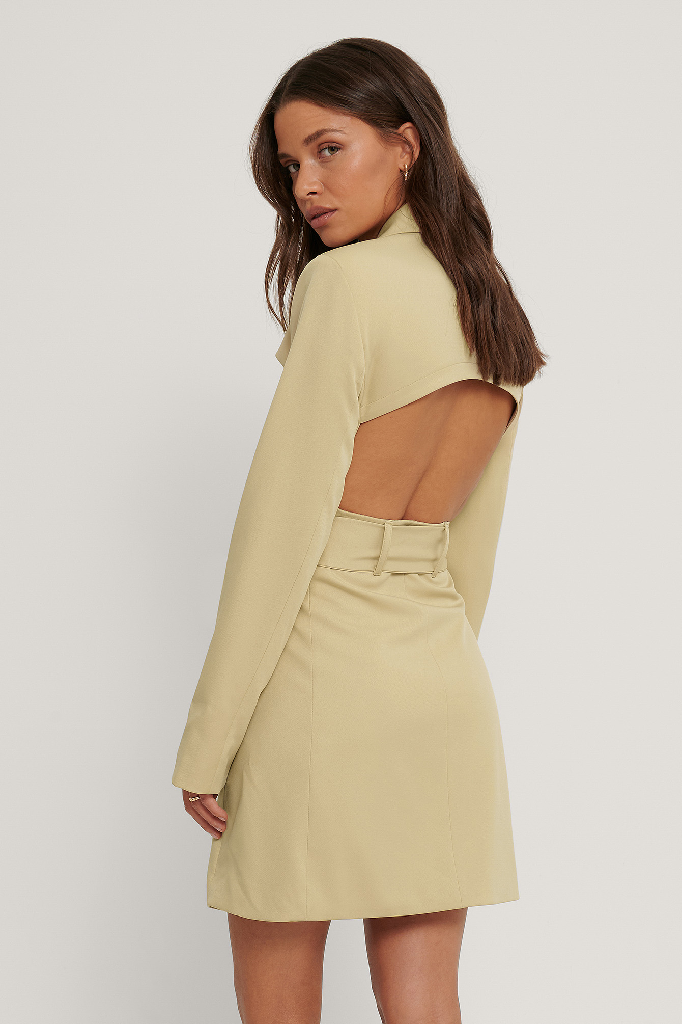 Light Beige Open Back Blazer Dress