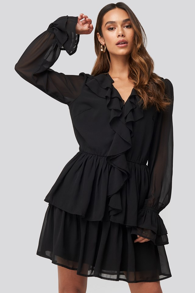 Chiffon Flounce Dress Black