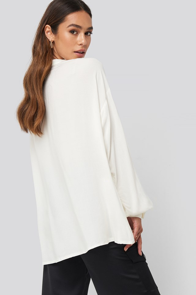 Deep Neck Blouse Offwhite