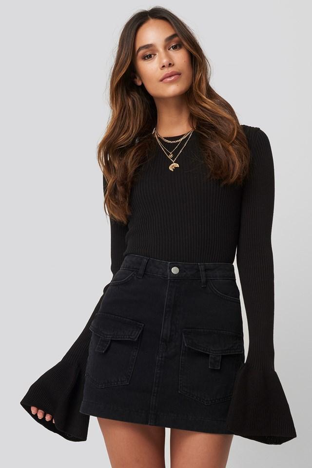 Denim Cargo Skirt Black