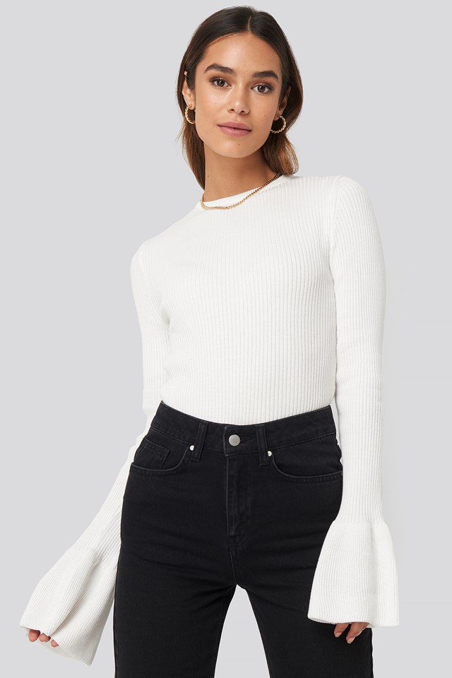 Flared Cuff Ribbed Top Off White