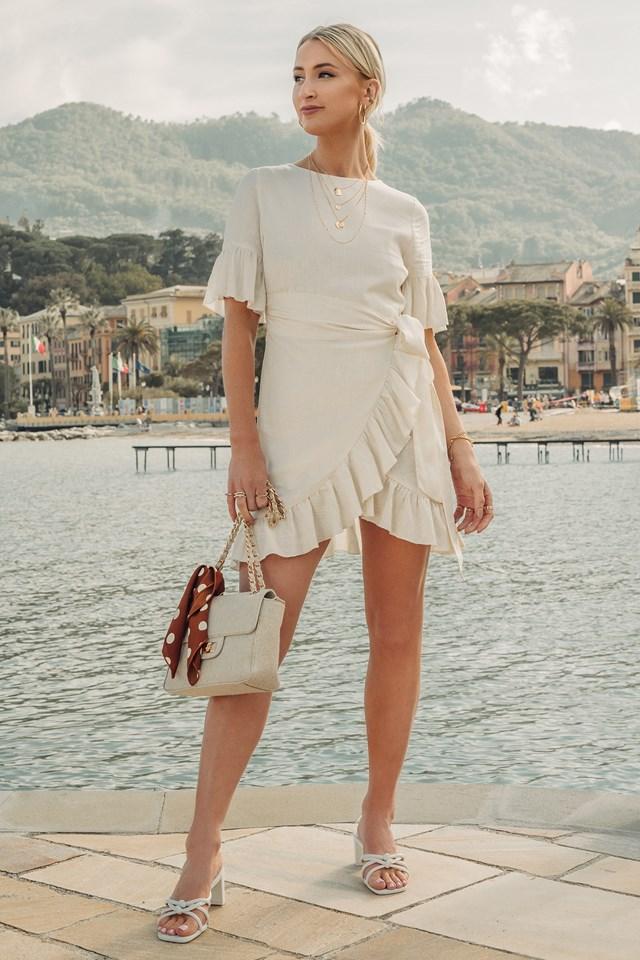 Linen Mix Frill Detailed Dress Off White