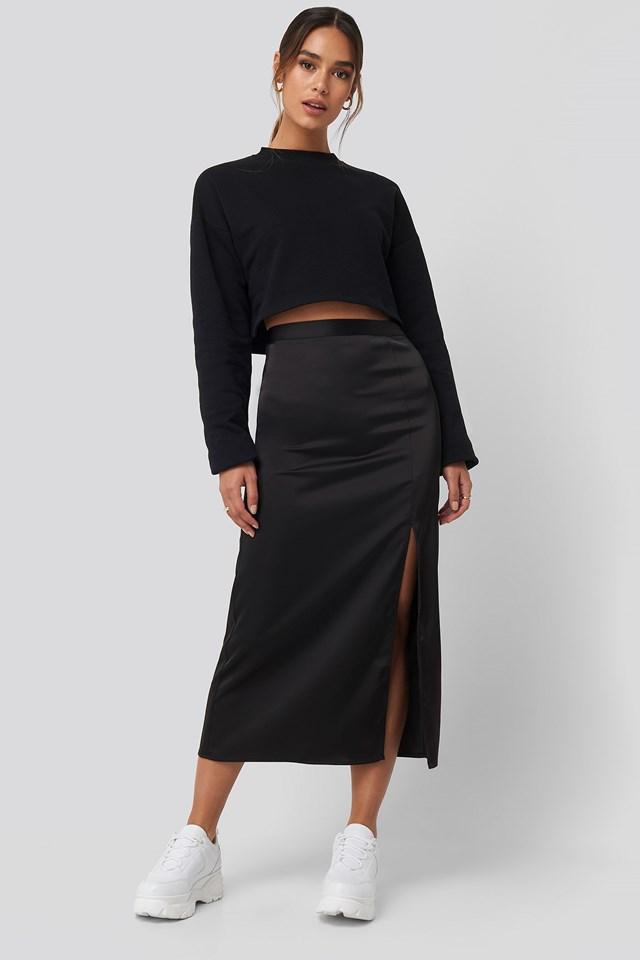 Slit Satin Skirt Black