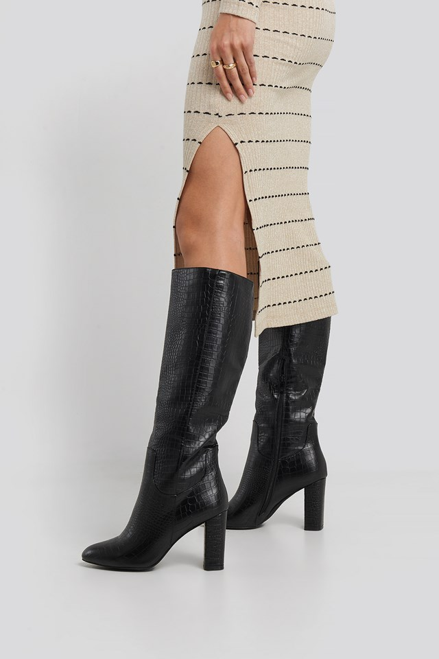 Marion Long Boot Black Croc Pu