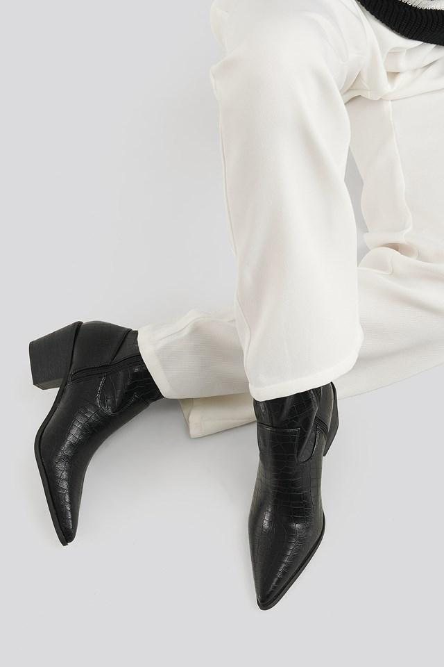 Mira Ankle Boots Black Croc Pu