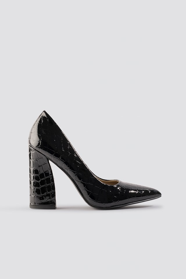 Yana Pumps Black Croc Pu