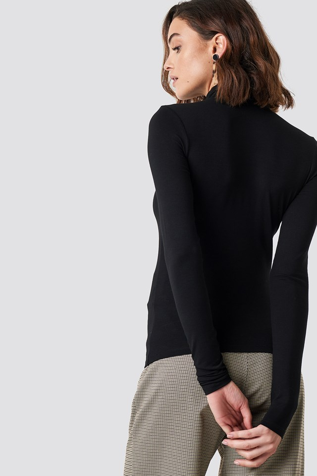 Viscose Long Sleeve Polo Top Black