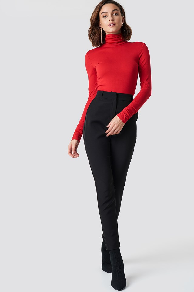 Viscose Long Sleeve Polo Top Red